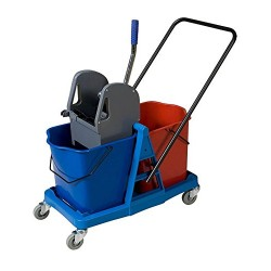 Carro de fregado con doble cubo de 24 litros/cubo y prensa (48 litros)