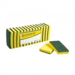 Estropajo de fibra verde extra con esponja 15x10 cm. Caja 42 uds