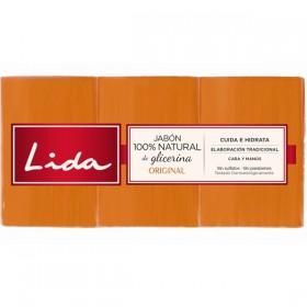 Lida Jabón natural de glicerina. Pack de 3x125ml