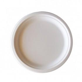 Platos desechables biodegradables de 26 cm de diámetro. Caja de 50 uds