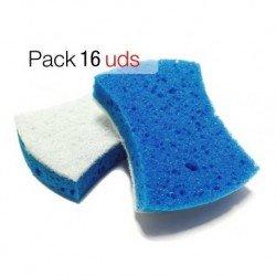 Estropajo baños fibra blanca con esponja. Caja 16 uds