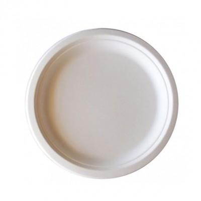 Platos desechables biodegradables de 22 cm de diámetro. Caja de 50 uds