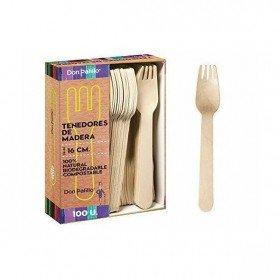 Tenedores desechables y biodegradables de madera. Caja 500 uds