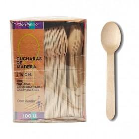 Cucharas desechables y biodegradables de madera. Caja 500 uds