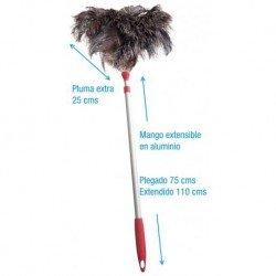 Plumeros extra avestruz con mango aluminio extensible. Caja 10 uds