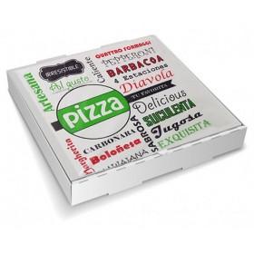 Caja para pizza de 33x33x4 cm. Caja 100 uds