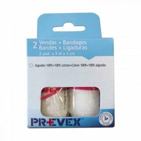 Prevex Vendas de algodón blancas de 5 metros. Paquete 2 uds