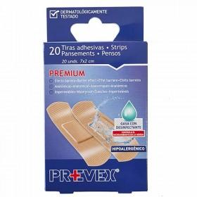 Prevex Tiritas adhesivas con desinfectante en color piel. Paquete 20 uds
